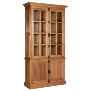 Lyox Wooden Display Cabinet With 3 Upper Shelves In Natural