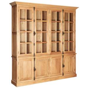 Lyox Wooden Display Cabinet With 6 Upper Shelves In Natural