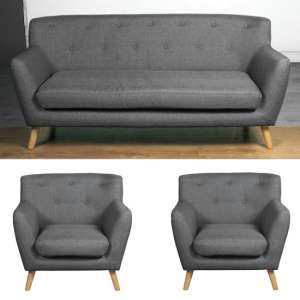 Lyrae Fabric 3 Seater Sofa And 2 Armchairs Suite In Dark Grey