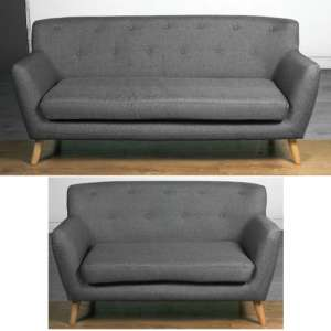 Lyrae Fabric 3 Seater Sofa And 2 Seater Sofa Suite In Dark Grey