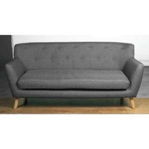 Lyrae Fabric 3 Seater Sofa In Dark Grey