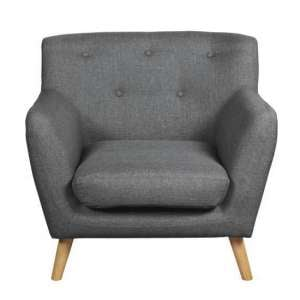 Lyrae Fabric Lounge Chaise Armchair In Dark Grey