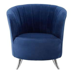 Grumium Blue Velvet Tub Chair With Metal Legs In Silver