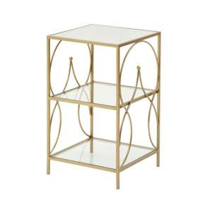 Maci Glass Side Table With Antique Gold Metal Frame