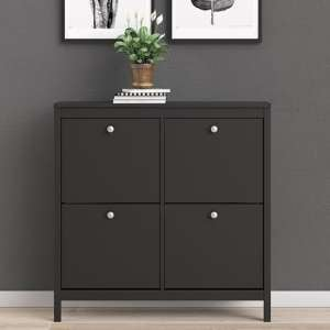 Macron Wooden Shoe Cabinet In Matt Black With 4 Compartments