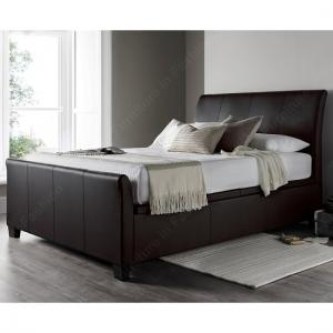 Madea Ottoman Storage Double Bed In Brown Bonded Leather