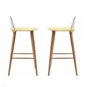 Madisson Lime Bar Stool With Oak Look Metal Legs In A Pair