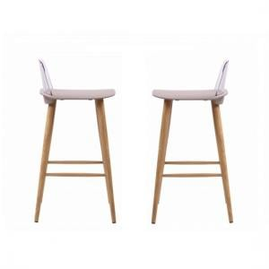 Madisson Stone Bar Stool With Oak Look Metal Legs In A Pair