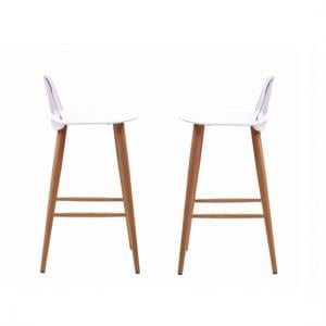 Madisson White Bar Stool With Oak Look Metal Legs In A Pair