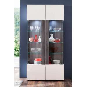 Madsen Display Cabinet Wide In White High Gloss Fronts And LED