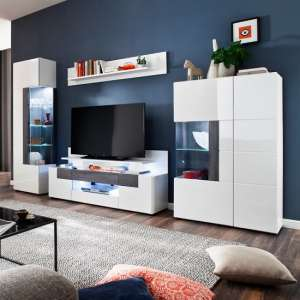 Madsen Living Room Set In White With High Gloss Fronts And LED