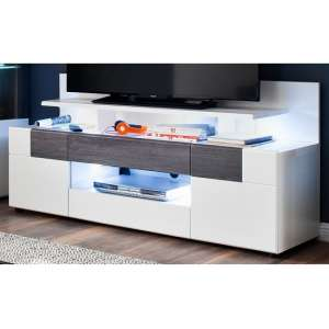 Madsen TV Stand And Top In White With High Gloss Fronts And LED