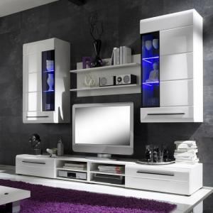 Madsen Living Room Set 1 In White High Gloss Fronts With LED
