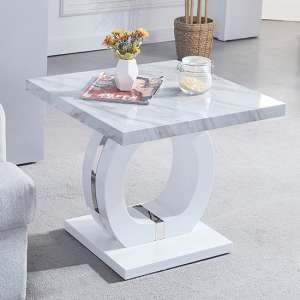 Magnesia High Gloss Marble Effect Lamp Table Grey And White