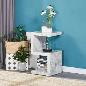 Miami S Shape Side Table In Magnesia Marble Effect