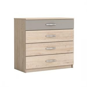 Magnum Wide Chest of Drawers In Arizona Oak And Clay