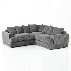 Magnus Fabric Corner Sofa In Charcoal With Black Feet