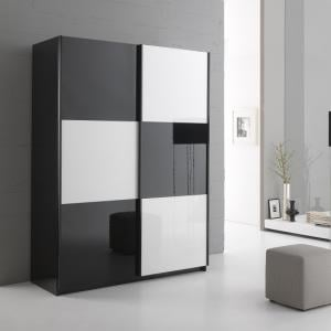 Luciano Sliding Wardrobe In Black And White High Gloss