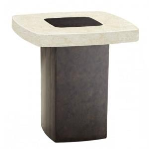 Malissa Marble Lamp Table Square In Cream And Brown
