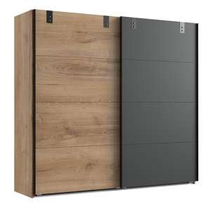 Malmo Sliding Door Wardrobe In Planked Oak And Graphite