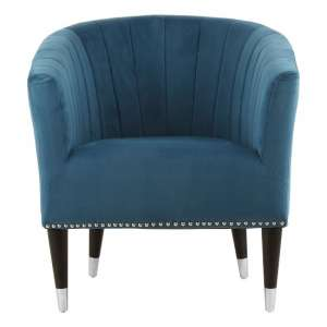 Homam Tub Style Velvet Upholstered Armchair In Blue Finish
