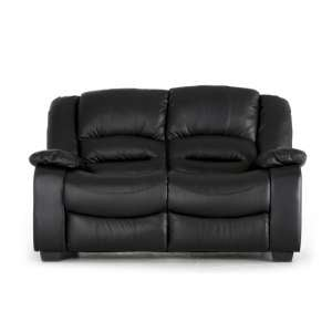 Malou 2 Seater Sofa In Black Faux Leather