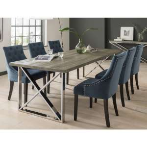 Malta Medium Grey Wooden Dining Table With 6 Vanille Blue Chairs