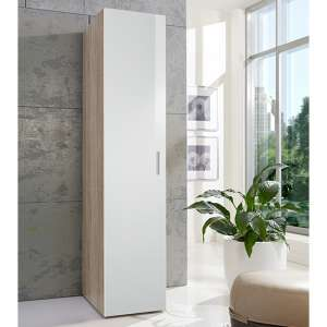 Malta Small Wooden Wardrobe In High Gloss White And Oak