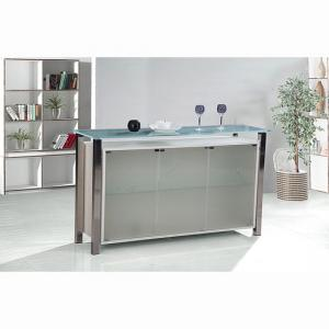 Domino Glass Sideboard In Frosted With 3 Doors