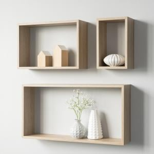 Malvern Contemporary Set Of 3 Shelving Unit In Sonoma Oak