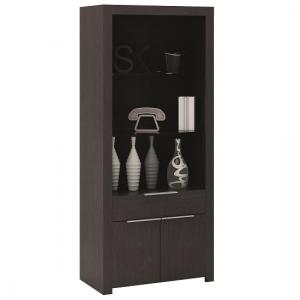 Malvern Display Cabinet In Ebony With 2 Doors And Drawer