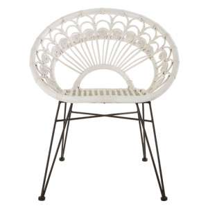 Hunor White Kubu Rattan Chair With Black Iron Legs