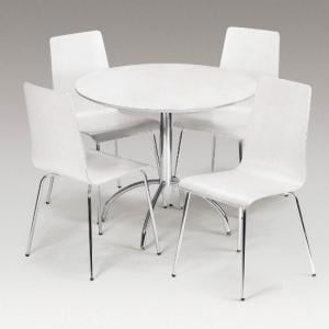 Candy Dining Set Round In Round White With 4 Chairs