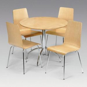 Mandy Dining Set With 4 Chairs In Maple And Chrome