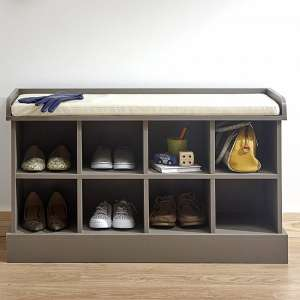Manford Shoe Bench In Grey With Eight Open Compartments