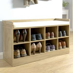 Manford Shoe Bench In Oak With Eight Open Compartments