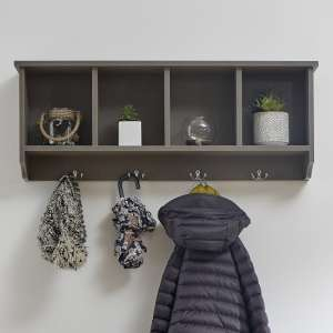 Manford Wall Rack In Grey With Four Storage Compartments