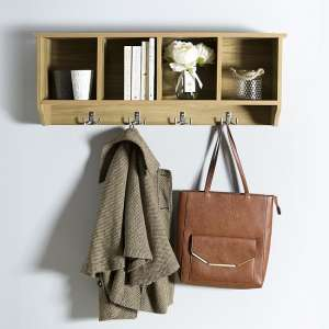 Manford Wall Rack In Oak With Four Storage Compartments