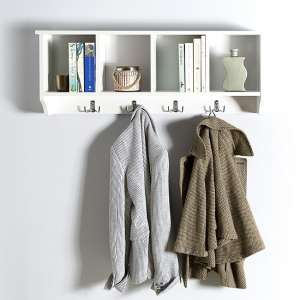 Manford Wall Rack In White With Four Storage Compartments