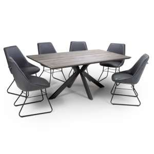 Manhattan Dining Set With 6 Wax Grey Cooper Chairs