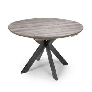 Manhome Extending Round Wooden Dining Table In Grey