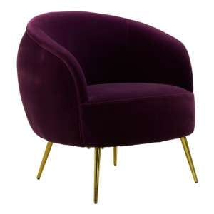 Intercrus Lounge Chaise Armchair In Purple Velvet