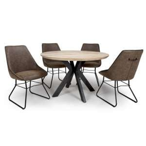 Manhattan Round Dining Set With 4 Wax Tan Cooper Chairs
