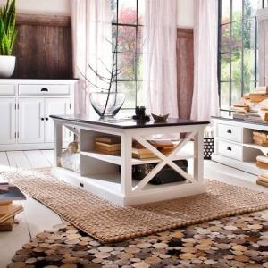 Allthorp Solid Wood Coffee Table In White And Black Top