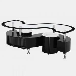 Mantis Glass Coffee Table In Black High Gloss With 2 Stools