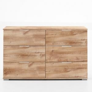 Mantova Wooden Wide Chest Of Drawers In Planked Oak Effect