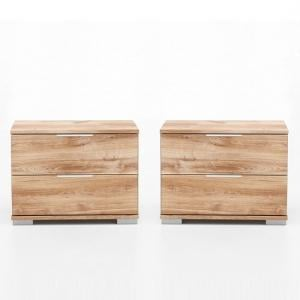 Mantova Wooden Bedside Cabinet In Planked Oak Effect In A Pair