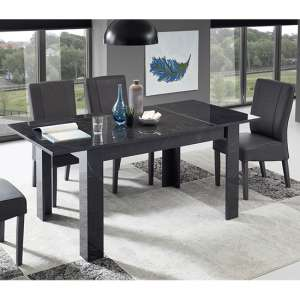 Manvos Extending Black Gloss Dining Table With 6 Miko Chairs