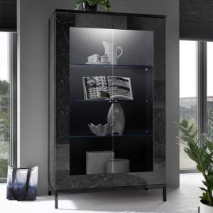 Manvos Wooden Display Cabinet In Black High Gloss Marble Effect