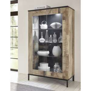 Manvos Wooden Display Cabinet In Black Oak And Pero With 2 Doors